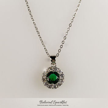 Marisa Emerald Green Round Cut Halo pendant Necklace | 4 Carat | Cubic Zirconia