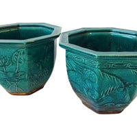 Asian-Style Green Orchid Planters, S/2