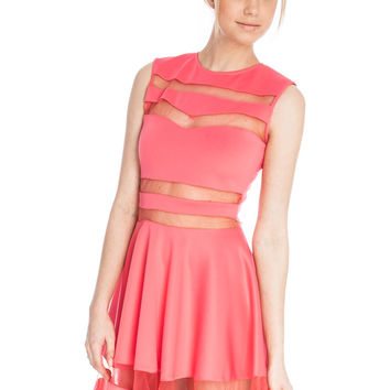 Pink Mesh Striped Sleeveless Skater Dress