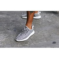 Adidas Yeezy Boost Popular Women Men Comfortable Running Sports Shoes Sneakers Grey Black Point (White Soles) I/A