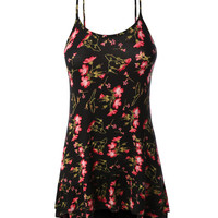 LE3NO Womens Flowy Spaghetti Strap Floral Tank Top (CLEARANCE)