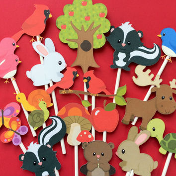 Forest animals cupcake toppers, forest animal toppers, animal toppers, forest animals cake toppers, rabbit, moose, turtle, skunk, butterfly