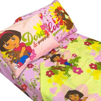Dora Explorer Puppy 4pc Full Bed Sheet Set