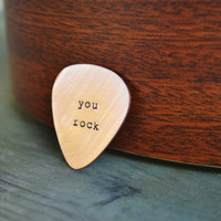 You Rock -  Pick - Hand Stamped - Copper - For Him - Valentines day - For Her - Under 20 - Music - Musician - Guys - Stocking Stuffer