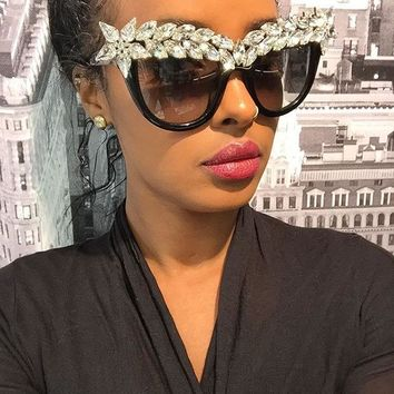 rhinestone cat eye sunglasses women luxury brand oversize fashion sunglasses female big sun glasses ladies Eyewear lunette femme
