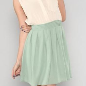 Pastel Whispers Two Toned Dress with Collar Tips in Sage/Cream | Sincerely Sweet Boutique