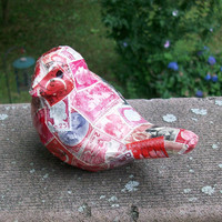 paper mach'e Bird embellished with vintage postage stamps