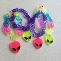Tattoo Choker with Alien Charm