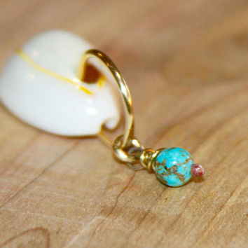 Turquoise Belly Button Ring, Belly Button Jewelry, 18 gauge 16 gauge 14 gauge Belly Button Hoop