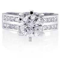 Sterling Silver 925 Round Cubic Zirconia CZ Ring #r038