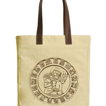 Women Mayan Icon Beige Printed Canvas Tote Bags Leather Handles WAS_30