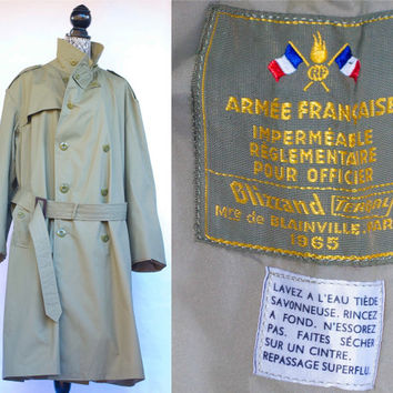 Vintage 1965 Armée Française (French Armed Forces) M-15 Trench Coat/Poplin Coat . M/L