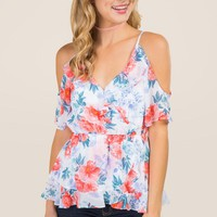 Deanne Floral Ruffle Wrap Cold Shoulder Top