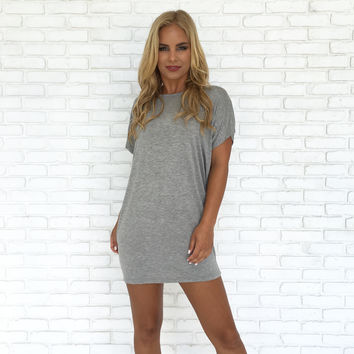 Simply Crossed Jersey Dress In Grey
