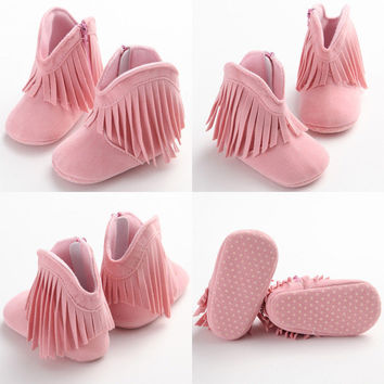 Winter Toddler Baby First Walker Shoes Cute Baby Kids Tassel Soft Sole Prewlaker Shoes Infant Boy Girl Toddler Moccasin