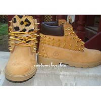 Mail In Your OWN Boots- Studded Timberland with Cheetah Print