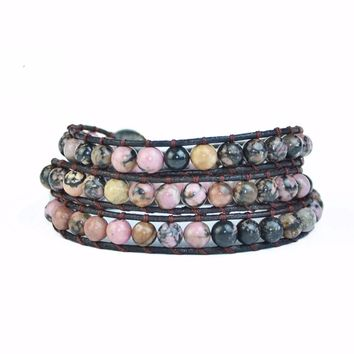 Leather Wrap Natural Stone Bracelets Beaded Bracelet Fashion Women Bracelet Bohemian Bracelet Drop shipping