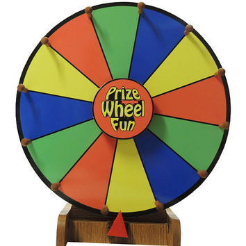 Professional Quality Dry Erase Prize Wheel Color Face with Woodgrain Stand