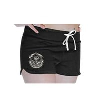 Sons Of Anarchy Embroidered Reaper Juniors Black Fleece Shorts - Sons of Anarchy - | TV Store Online