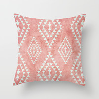 mint & coral tribal pattern (2) Throw Pillow by Dani
