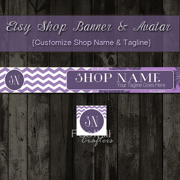 Etsy Banner and Matching Avatar, Premade, Purple Lavender Chevron and Floral Pattern, Customize Shop Name and Tagline, Graphic Design, Brand