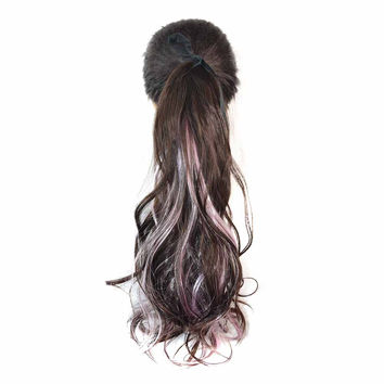 Horsetail Wig Large Pear Hot Lace-up     2#+pink(natural color with pink)