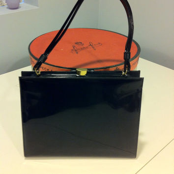 Kelly Style Bag, Black Patent Leather, Vintage Black Handbag, Vintage Handbag, Vintage Kelly bag,