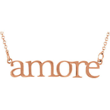 Amore Necklace Solid 14k Rose Gold Necklace Statement Necklace Choker Necklace Yellow Gold Bar Necklace Dainty Necklace Gifts For Her