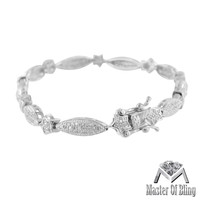 925 Real Silver White Gold Finish Pear Star Link Simulated Diamond Bracelet