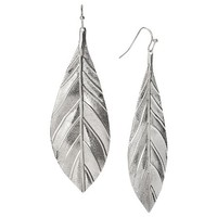 Women's Leaf Linear Drop Earrings - Silver