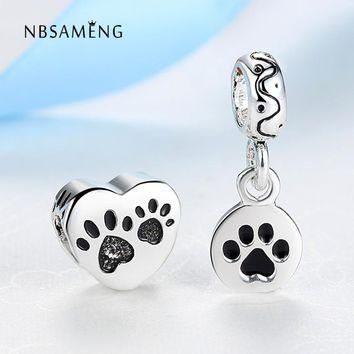 2pcs Dog Doggie Footprint Silver Plated Beads Charm European Love Heart Bead Pendant F
