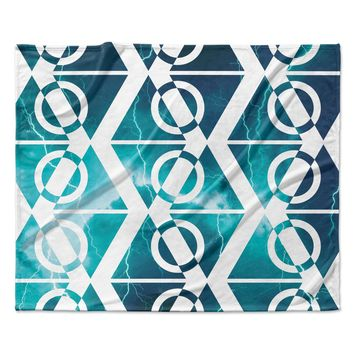 "Matt Eklund ""Storm"" Teal White Fleece Throw Blanket"