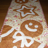 Christmas Gingerbread Man Quilted Table Runner, Quiltsy Handmade, Holiday Table Runner, Whimsical Christmas, Christmas Decor, Christmas