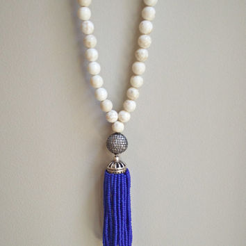 Blue Lapis Bead Tassel Necklace with Crystallized Oval Bead and White Buffalo Turquoise Beads
