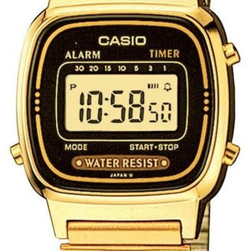 Casio Womens  Daily Alarm Gold Tone Digital Watch