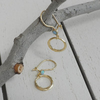 Blue Opal Earrings - Gold Plated Round Element Earrings Set With Small Round Opal Stones
