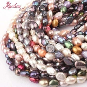 "4-6x5-8mm Freeform Freshwater Pearl Natural Stone Beads For Necklace Bracelet Jewelry Making Spacer Strand 14"" Free Shipping"