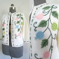 Embroidered Wool Open Front Cardigan // 1950 1960s Mid Century Lined Sweater