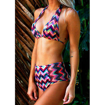 Gova Swimwear Milan Colorful Zig Zag High Waisted Bikini Set