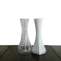 Vintage Vase Milk Glass and Transparent Glass - Hoosier Glass Bud Vases- Set of 2