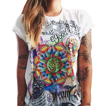 CWLSP 2017 Summer Colorful Printed T shirt Women Fashion Letter Short Sleeve O neck Chic Cotton T-shirts Female QL2115