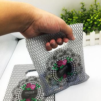 plastic shopping bags 100pcs Mini Jewelry Plastic Gift Packaging Bags With Handles Small wedding gifts for guests Baby shower