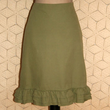 Green Skirt Corduroy Skirt Boho Skirt Casual Skirt Cotton Skirt Ruffle Cowgirl Midi Skirt Anthropologie Size 6/8 Small Medium Women Clothing