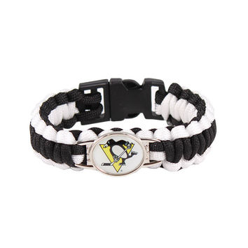 Ice Hockey Braided Bracelet NHL Pittsburgh Penguins Charm Paracord Survival Bracelet Outdoor Camping Bracelet Jewelry Gift