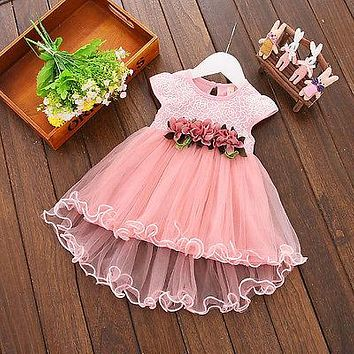 Toddler Newborn Infant Kids Baby Girls Summer Floral Cotton Dress Princess Party Tulle Dresses 0-3 Years