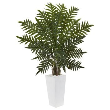 Artificial Plant -4.5 Foot Evergreen Plant in White Tower Planter
