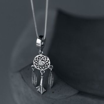 real. 925 Sterling Silver jewelry Dream Catcher Necklace /Pendants Dreamcatcher Tassel Feather Charms Women's GTLX1240