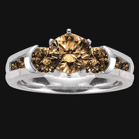 1.75 carat Champagne brown diamonds ring 3 stone style ring