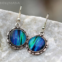 Blue Stripes dangle Earrings delicate fall winter Jewelry, Free Shipping from MADEbyMADA