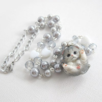 Kawaii Cat Grey Pearls Necklace. 3D Cat Pendant. Pearls and Glass Beads Necklace. Kawaii Sweet Lolita Fairy Kei Necklace